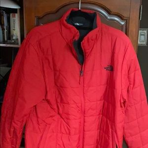 Men's Red trimmed in black Northface down jacket